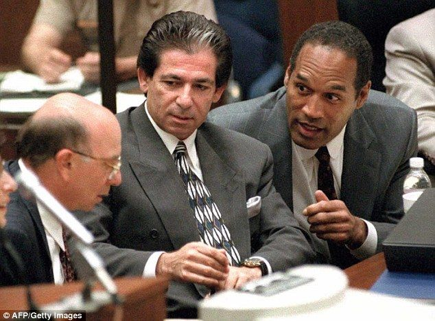 Robert Kardashian's struggle with the OJ Simpson verdict was a major focus of the final episode of American Crime Story: The People V. OJ Simpson. Pictured above, Kardashian (center) with Simpson