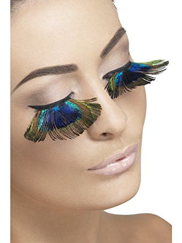 Eyelashes, Peacock Feathers Fancy Dress Woman Costume. Peacock Feather Eyelashes & small vial of adhesive.