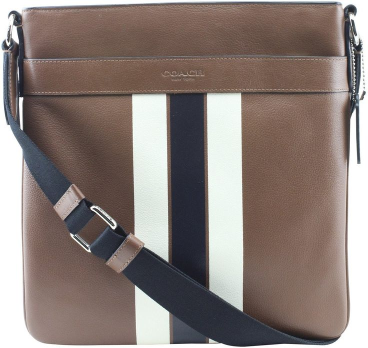 Coach Men's F54193 Leather Charles Varsity Messenger Bag (Saddle/Midnight)
