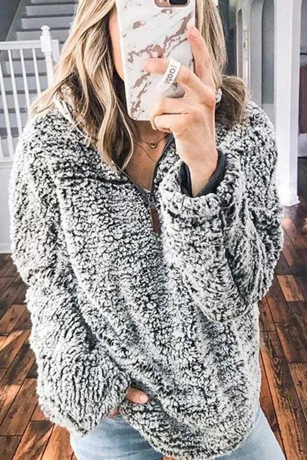 Faux Fur Sherpa Fleece Pullover Teddy Bear Sweatshirt 5