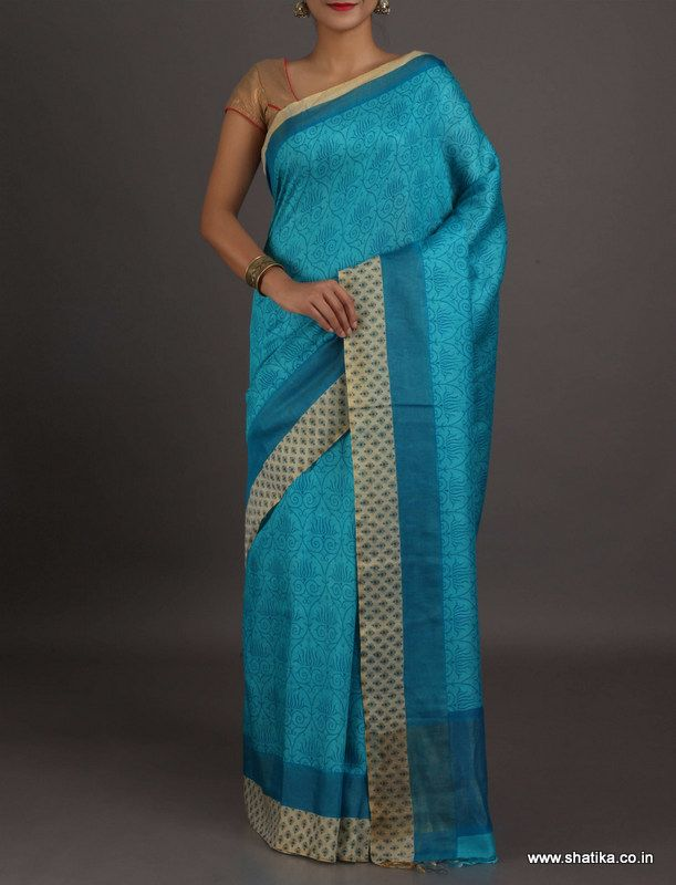 Chhaya Plain Cool Blue With Border #Georgettesilksaree