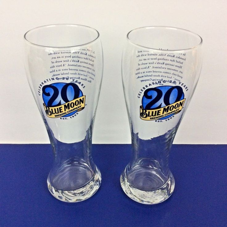 Blue Moon Brewing Co Pilsner Beer Glasses ~ Celebrating 20 Years ~ Lot of 2