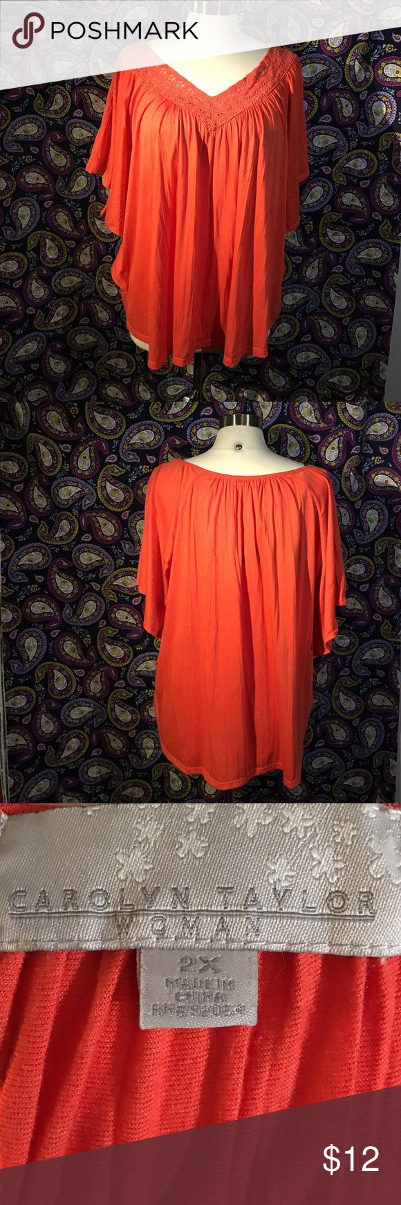 Beautiful orange batwing blouse Orange batwing blouse made of polyester and rayon and is soft as combed cotton. Has lace neckline. In perfect shape! carolyn Taylor Tops Blouses