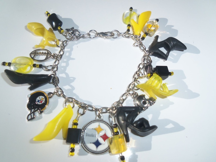 Barbie Shoe Charm Bracelet Yellow and Black w/ PITSBURGH STEELERS charms  / ITEM 3090. $15.00, via Etsy.