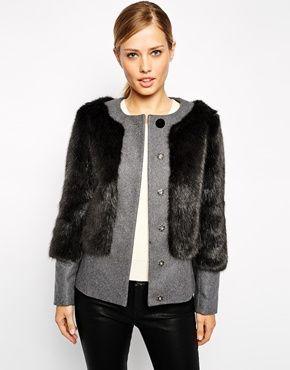 Layering inspo: Enlarge Ted Baker Coat in Faux Fur