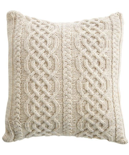 """Aran Entwined Plaited Cable Cushion Cover 16"""" ~ Knitting Pattern"""