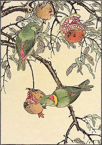 Imao Keinen - Pomegranate, Lovebird 1891