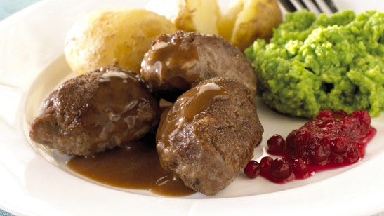 Norwegian meat balls with mashed peas, potatoes and lingonberries. Nuff said.