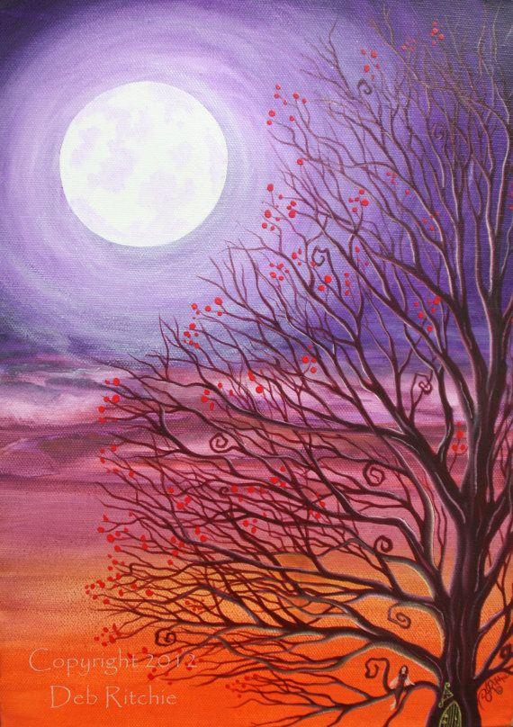 purple canvas art with tree | ORIGINAL Painting - Purple Fairy Tree Moon Art - 10 x 14 Acrylics on ...