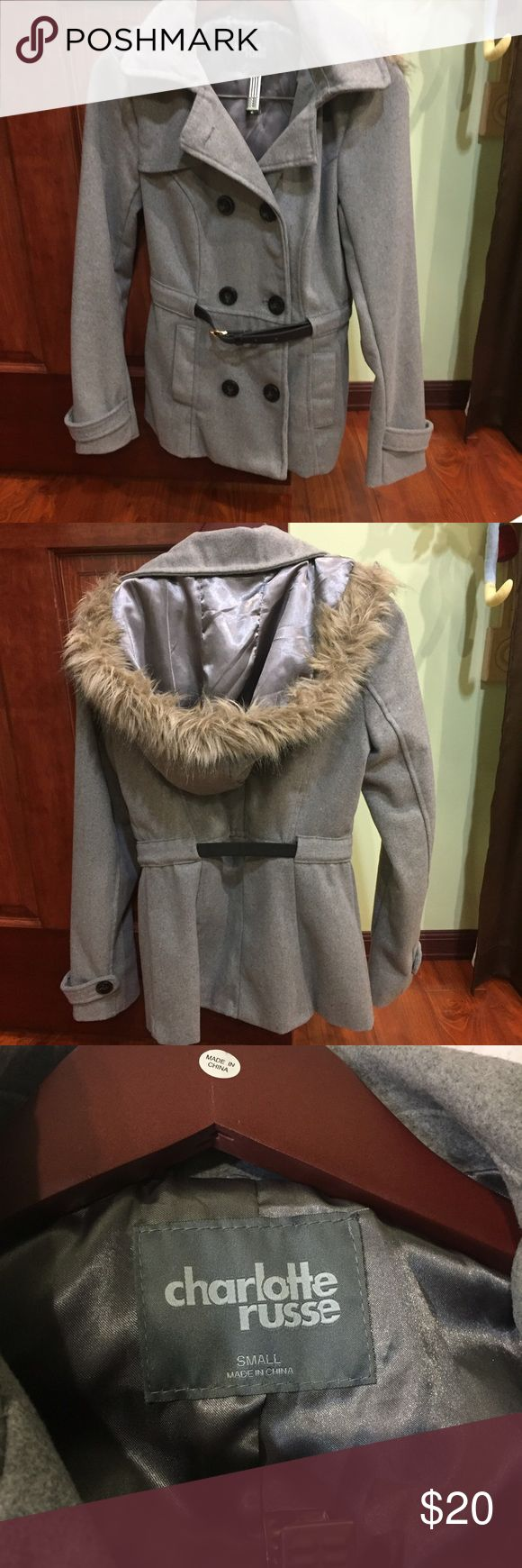 NEW Charlotte Russe Grey Pea Coat! Size Small! Grey jacket, NEW and very comfortable, inside material is satin.  Hood has fur aligned with it.  Adjustable belt! Charlotte Russe Jackets & Coats Pea Coats