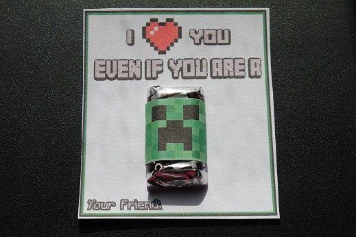 24 Handmade Minecraft Valentines by Jessicassupplies on Etsy