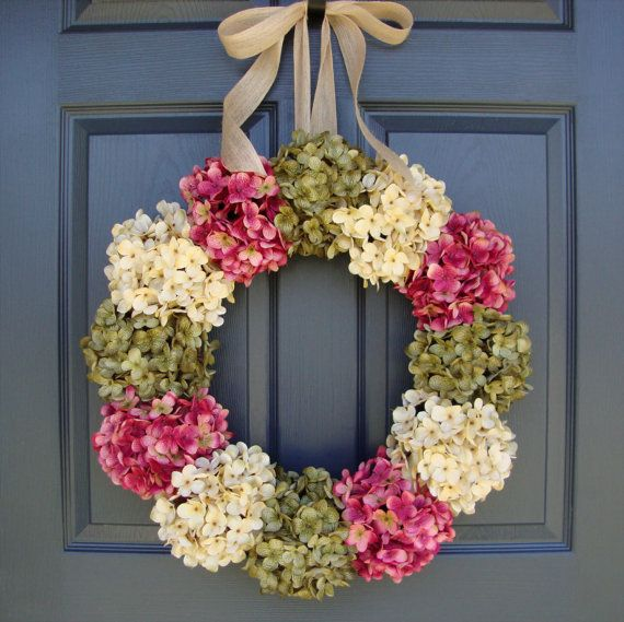 Hydrangea Wreath - Door Wreaths Spring - Summer Wreath - Spring Door Decorations - Mothers Day Wreath - Includes Free Wreath Hanger on Etsy, $98.00