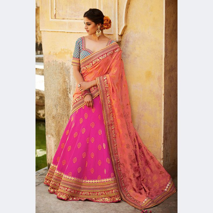 Magenta Color Pure Silk Jacquard Heavy Embroidery Bridal Lehenga Choli.  Buy Now :- https://goo.gl/I6tZ2B #CashonDelivery & #FreeShipping Available In India.