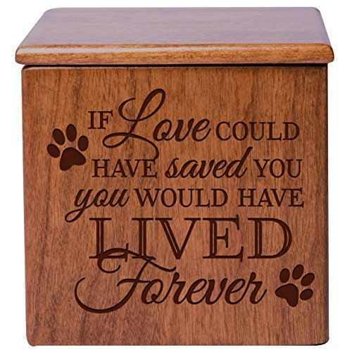 Cremation Urns for Pets Memorial Keepsake box for Dogs and Cats, Urn for pet ashes If Love could have saved you you would have lived forever by Dayspring Milestones (Cherry)