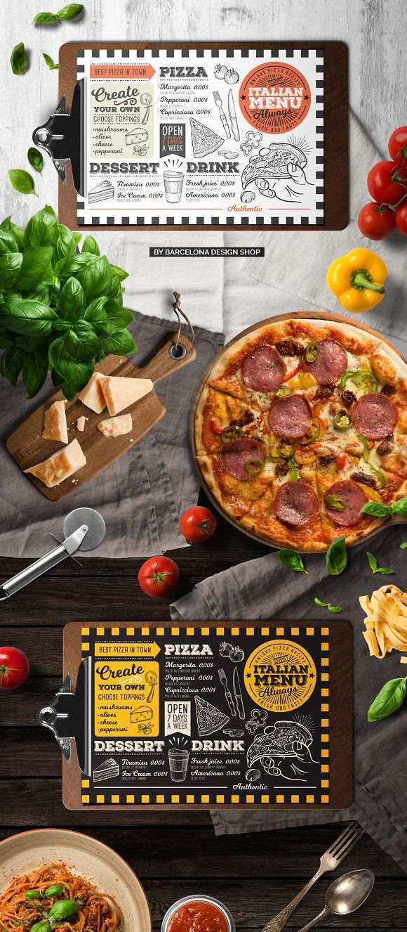 Pizza Food Menu Template by BarcelonaShop on @creativemarket