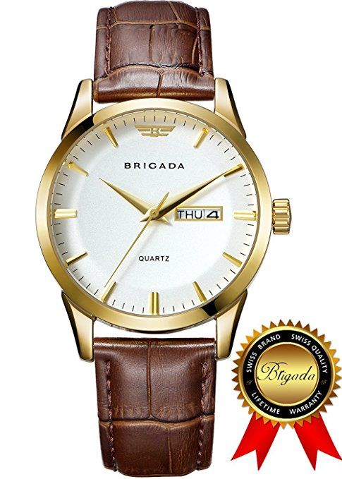 BRIGADA Swiss watches Classic Gold Waterproof Business Casual Quartz Watch for Men Boys, Great Gift for Someone or Yourself (white gold)