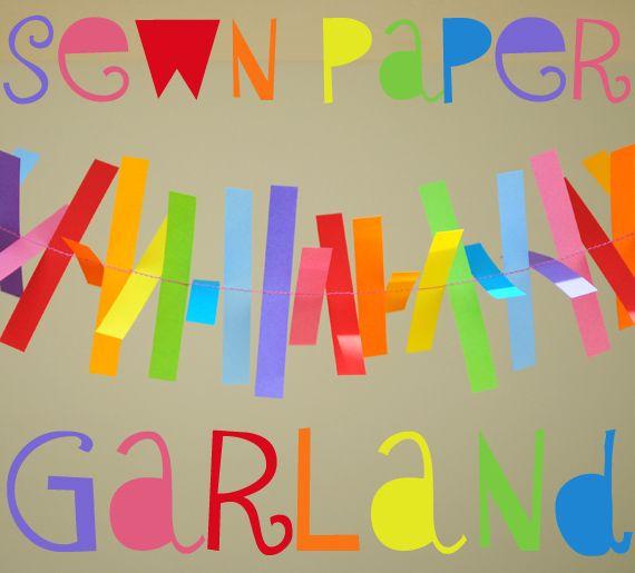 Sewn paper garland: Kids Parties, Paper Garlands, Birthday Parties, Color, Rainbows Parties, Parties Ideas, Paper Strips, Rainbow Parties, Parties Decor