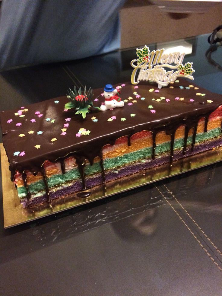 Rainbow Christmas log!