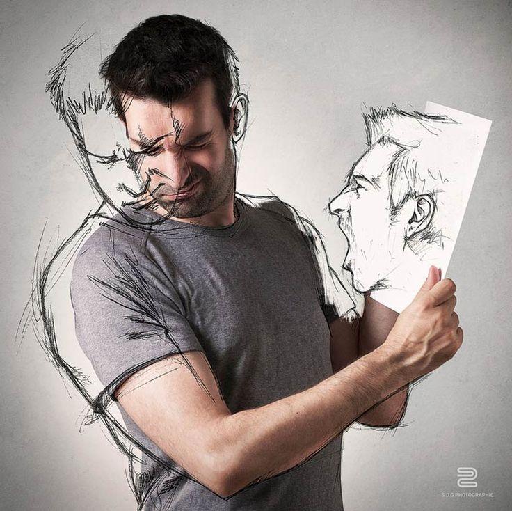 Avec sa série d'auto-portraitsAll Sketches, le photographeSébastien Del Grosso s'amuse à se mettre en scène dans des images mélangeantillustration et