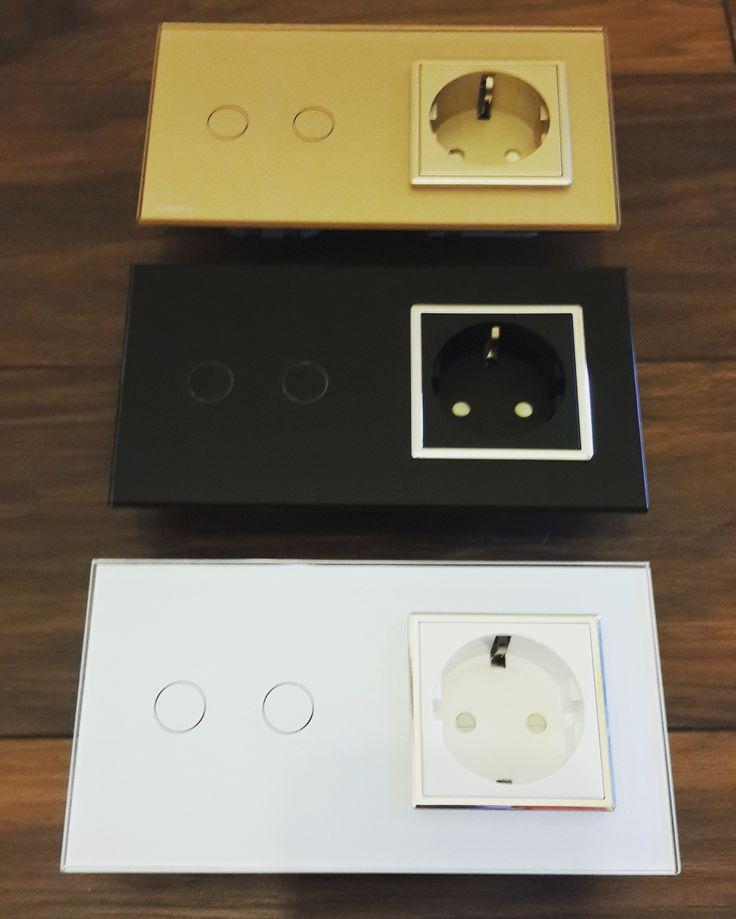 Выбираем цвет #выключателя с розеткой. Есть три варианта. #Livolo сенсорный выключатель на два канала и розетка с заземлением. Магазин livolo.in.ua