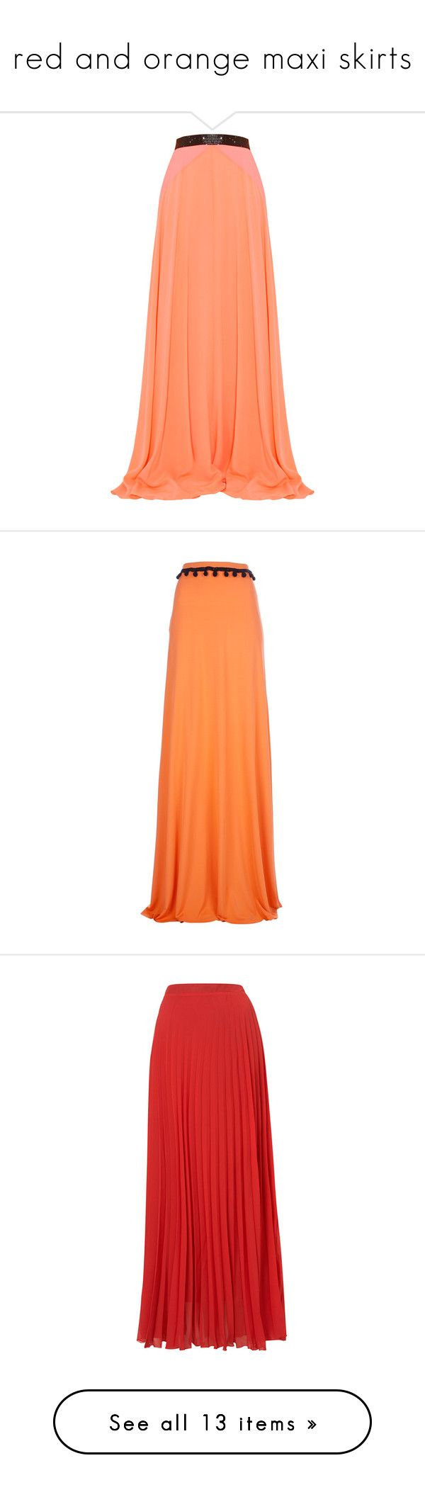 """red and orange maxi skirts"" by lulucosby ❤ liked on Polyvore featuring skirts, bottoms, saias, faldas, maxi skirts, panel maxi skirt, long red skirt, red maxi skirt, full skirt and red full skirt"