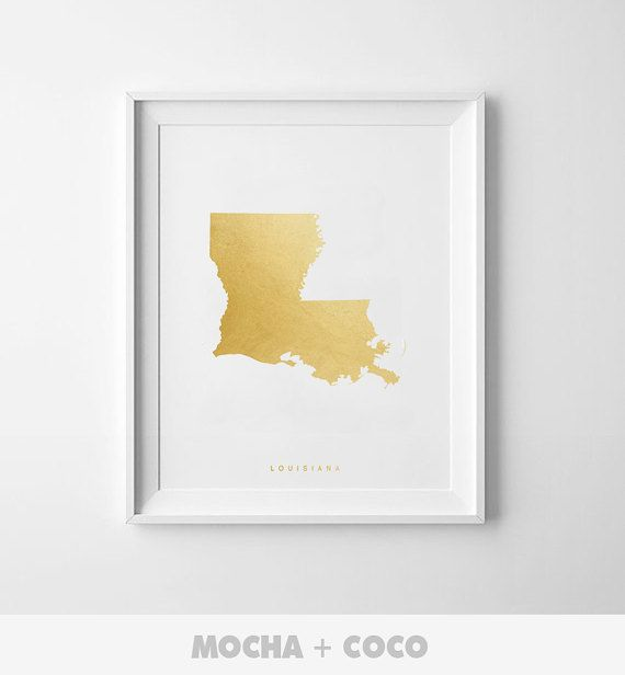 Louisiana Gold Map Print US State PosterState Map by MochaAndCoco