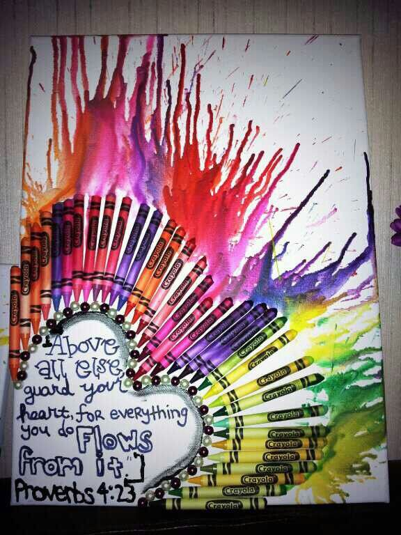 Loved the heart crayon art. Added one of my favorite verses and some beads.