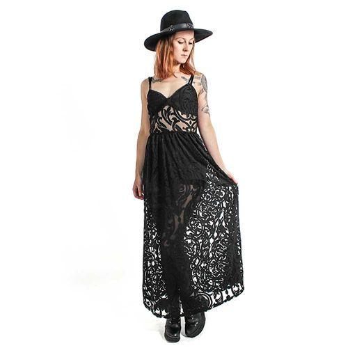 Necromance lange jurk met damast patroon zwart - Gothic