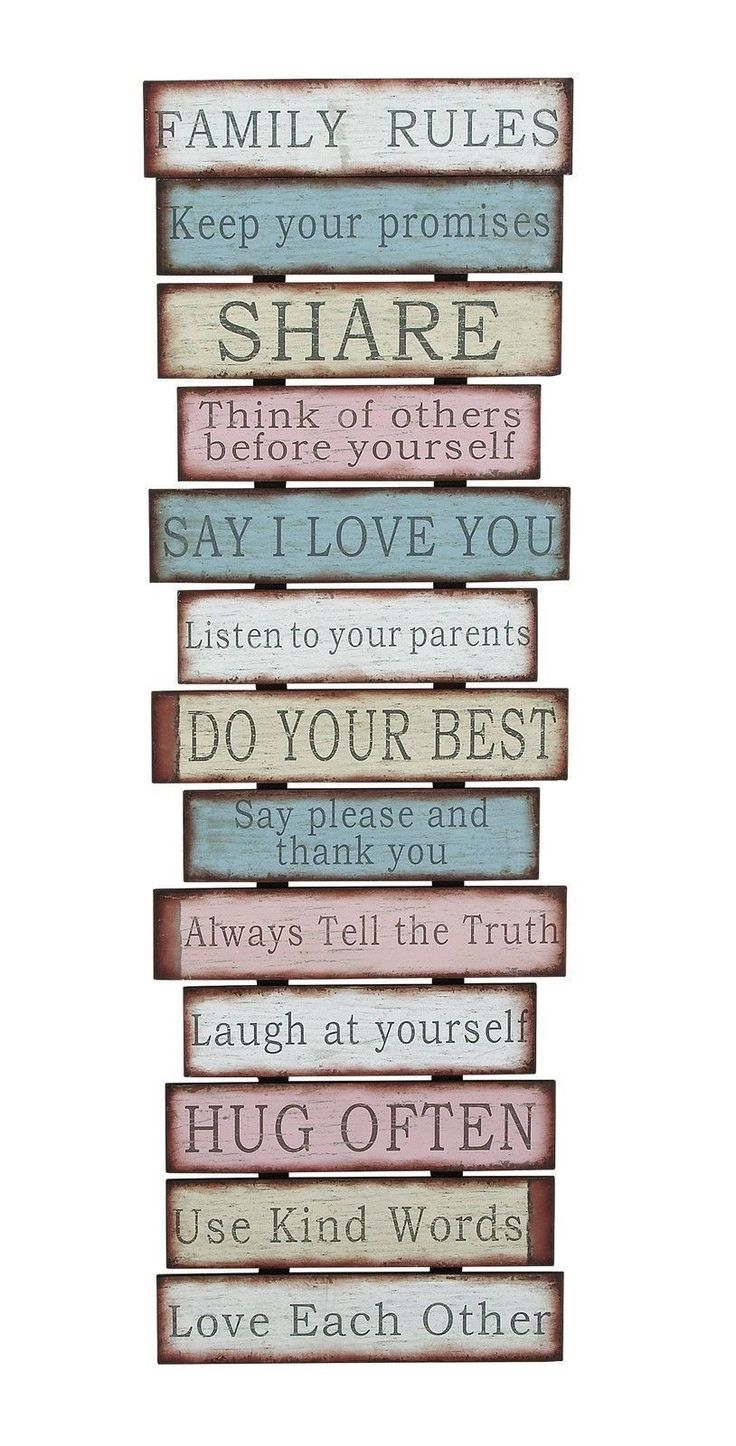 Family Rules Love Pink Blue Vintage-Look Wall Plaque Sign Saying Country