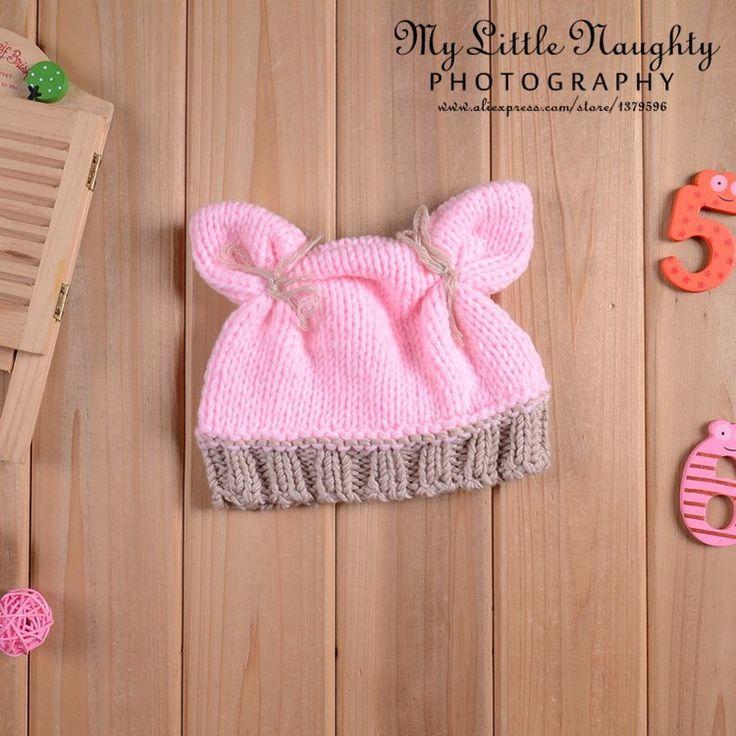 Recém nascido crochet chapéus fotografia recém nascido adereços Handmade bebé. 0 3 mês animais malha rosa coelho inverno gorros em Toucas e Bonés de Mãe & Kids no AliExpress.com | Alibaba Group