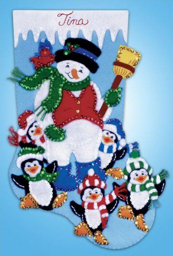 Snowman with Penguins Christmas Stocking - Felt Applique Kit