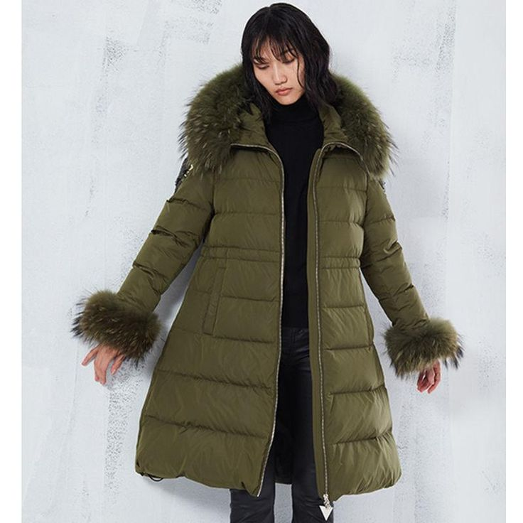 Winter Women Cotton Coat Fashion Lady Cotton Outwear Real Fur Sequins Long Fashion Winter Parka-Coats & Jackets-SheSimplyShops