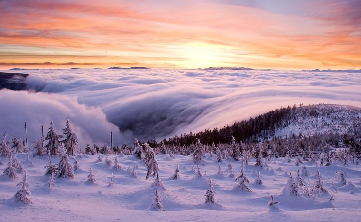 Morning sunrise at Lysa mountain, Beskydy, Czech republic.