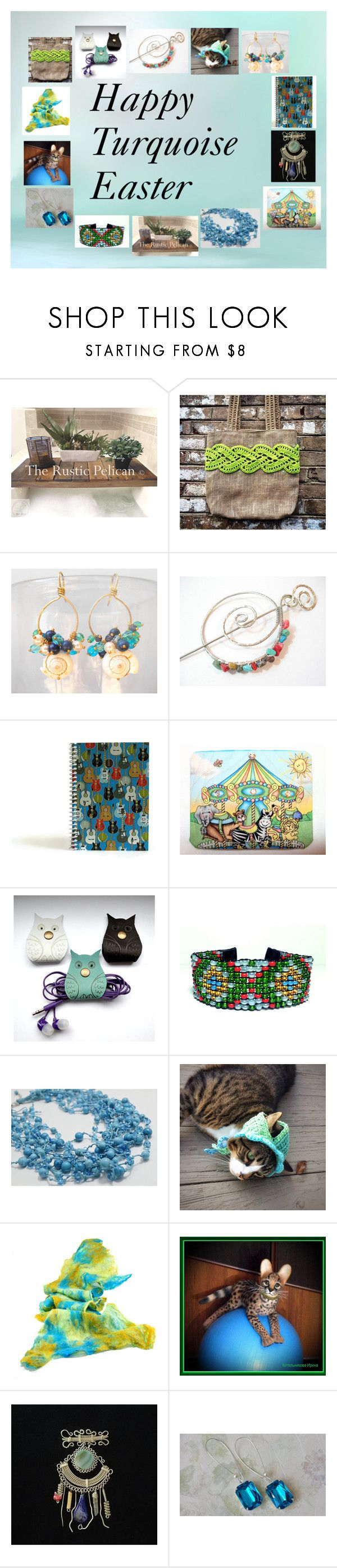 """""""Happy Turquoise Easter: Handmade Gifts"""" by paulinemcewen ❤ liked on Polyvore featuring Tejido"""