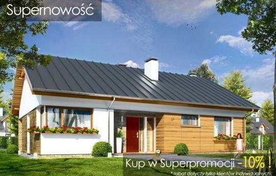 Projekt domu Oliwka to projekt parterowego domu jednorodzinnego, dla czteroosobowej rodziny, ze strychem do adaptacji, przekrytym dwuspadowym symetrycznym dachem. Prosta nowoczesna bryła budynku ozdobiona jest oryginalną stolarką okienną, oraz drewnianymi i klinkierowymi okładzinami ścian. Tradycyjna forma parterowego domu zaprojektowanego na planie prostokąta, została połączona z nowoczesnym detalem i materiałami.