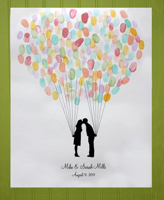 Custom Silhouette Wedding Guest Book Alternative - Print with Fingerprint Balloon and your Silhouette made from your photos
