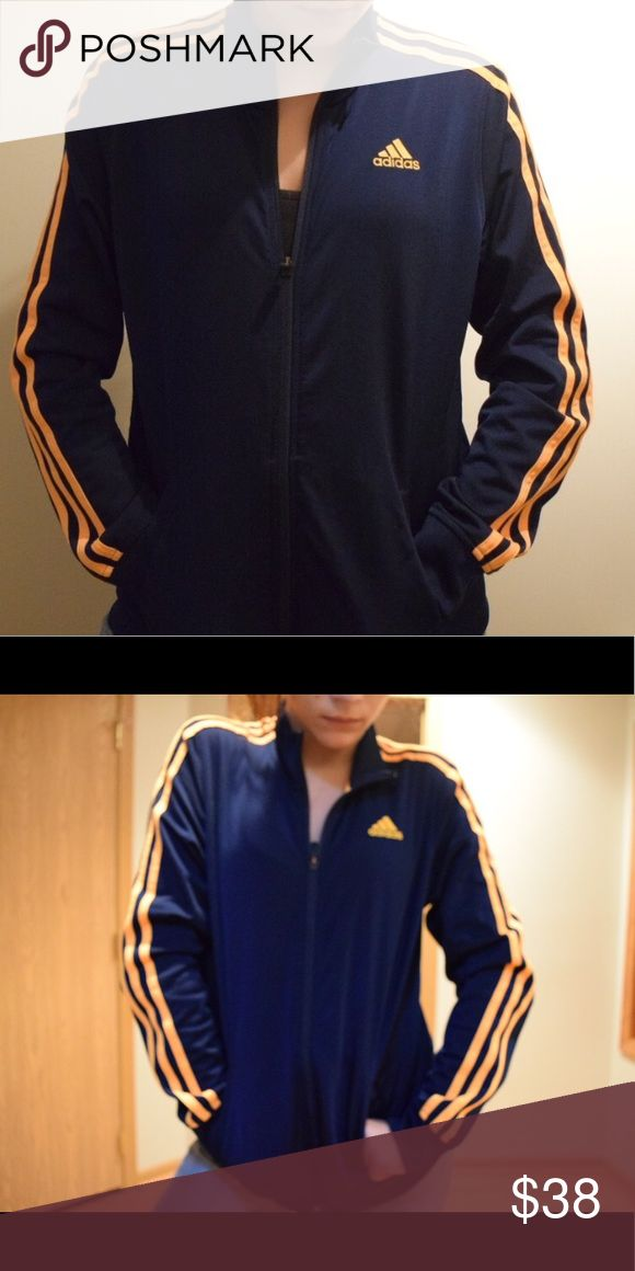 Adidas track zip up!!! Vintage adidas orange and navy blue zip up !!! Kids size L WOMENS SIZE SMALL adidas Jackets & Coats