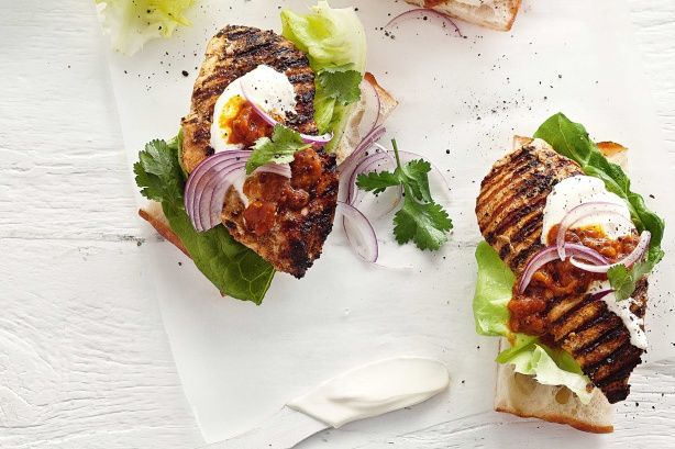 Spice up your chicken #burgers with curry paste and a big dollop of tomato kasundi.