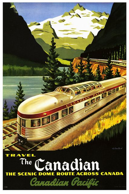 Scenic Dome Route Across Canada    1950's or early 1960's. IIlustration by R. Coullard.