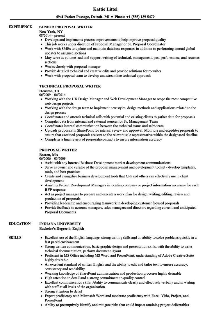 Proposal Writer Resume Samples Resume examples, Resume