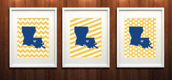 Baton Rouge Louisiana Set of Three State Giclée Prints by PaintedPost, $37.00 #paintedpoststudio - Southern University - Jaguars- What a great and memorable gift for graduation, sorority, hostess, and best friend gifts! Also perfect for dorm decor! :)
