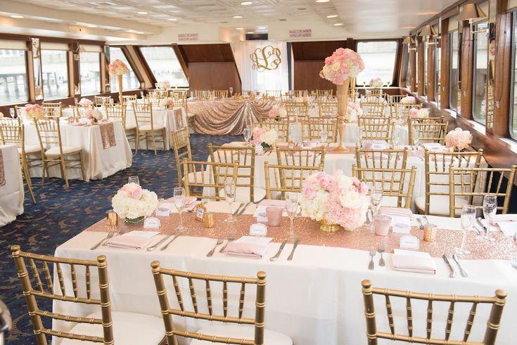 Glamorous Blush Pink, Gold, and White Waterfront Tampa Wedding
