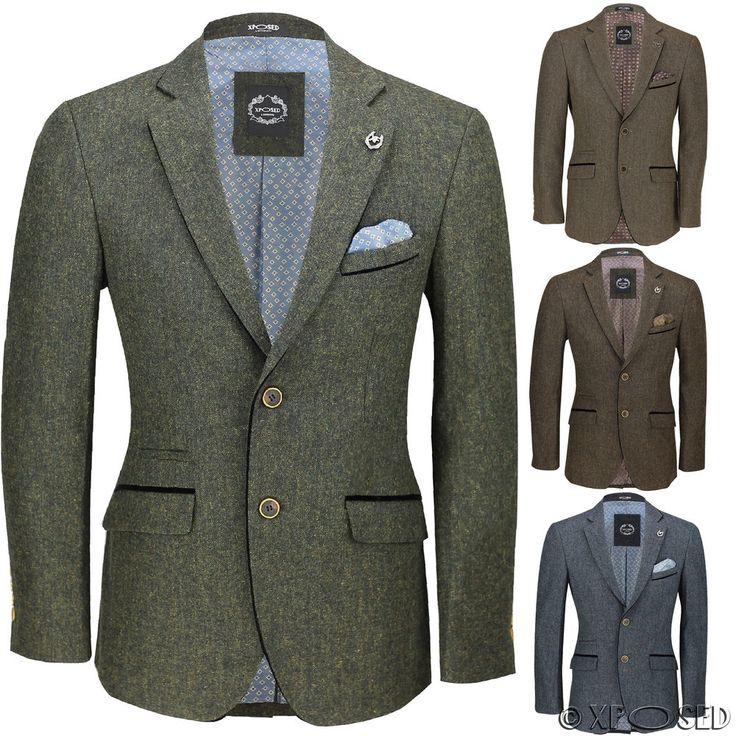 Mens Vintage Tweed Blazer in Tan Green Blue Designer Formal Slim Fit Suit Jacket