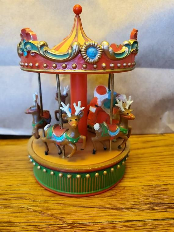 Christmas Carousel Recreation 2021 Hallmark Wind Up Merry Go Round Carousel Music Box Santa Etsy In 2021 Vintage Christmas Ornaments Christmas Decorations Ornaments Santa And Reindeer
