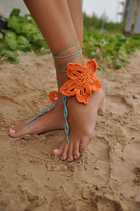 Orange flower Crochet Barefoot Sandals Nude shoes Foot by barmine