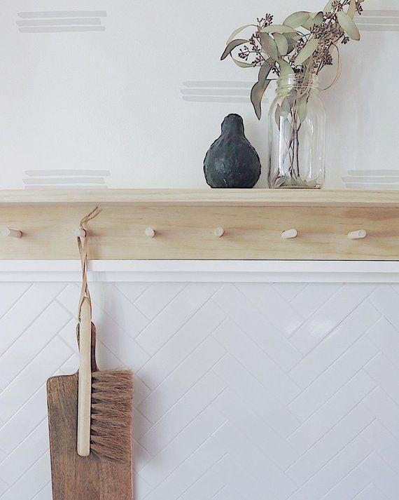 Wooden Peg Rail with Shelf / Wooden Peg Rack / Wooden
