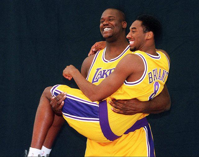 Kobe. Shaq. The most dominant little man / big man combo in NBA history.  #kobe #shaq #lakers