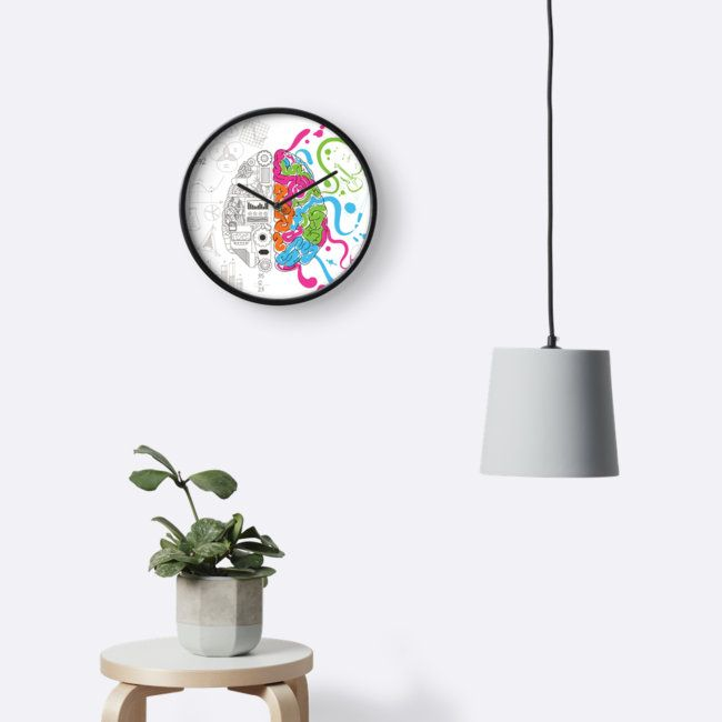 Brain Creativity Illustration by Gordon White | Natural Bamboo Creative Brain Chemistry Wall Clock Available in 3 Frame Colors @redbubble     @redbubblecreate  ---------------------------  #redbubble #sticker #brain #creative #creativity #chemistry #nerd #geek #cute #adorable #wallclock #homedecor  ---------------------------  http://www.redbubble.com/people/blackbox23/works/23716610-creative-brain-chemistry?asc=u&p=clock&rel=carousel