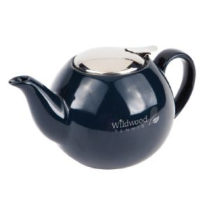 The Serenity Teapot. 24oz Ceramic teapot with stainless steel accent Stainless steel flip top lid Removable mesh tea strainer included