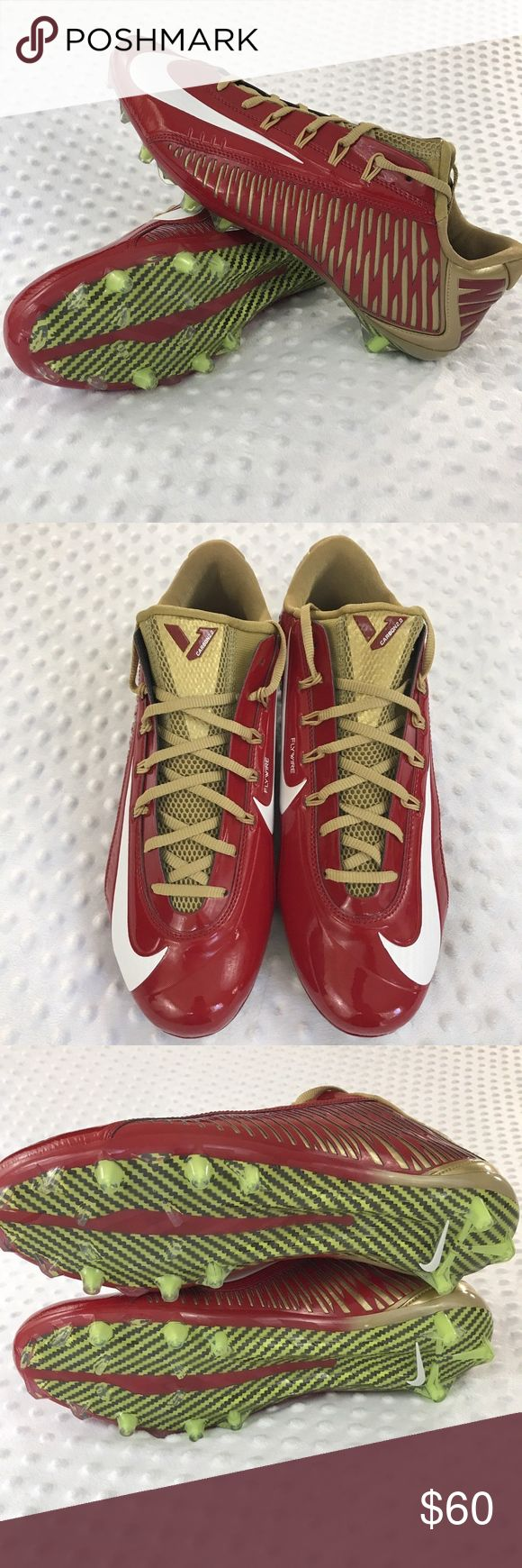 Nike Vapor Carbon 2.0 Cleats Item: Official Nike Vapor Carbon 2.0 Football Cleats 657441-628 Men's Sz 12.5 Red Gold Size: 12.5 Base Color:  Red, Gold, White New Without Box Nike Shoes Athletic Shoes